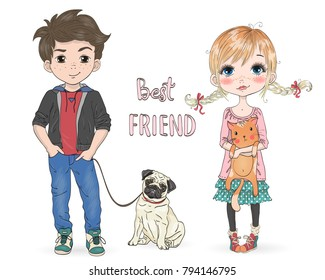Hand drawn beautiful, cute, little girl with pretty cat and cartoon boy with dog pug. Vector illustration.