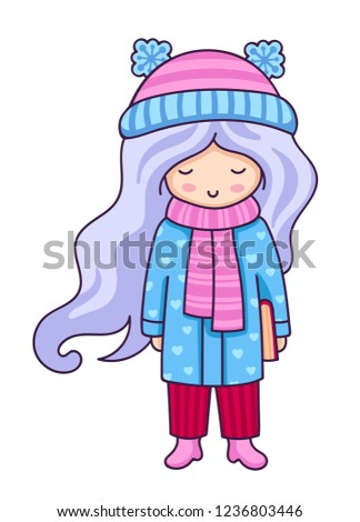 Hand Drawn Beautiful Cute Little Girl Stock Vector (Royalty Free ... 94c713fad4399