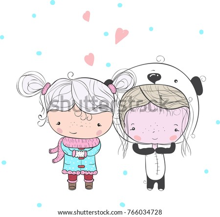 Royalty-free stock vector images ID  766034728. Hand drawn beautiful cute  little girls in the background of S. Cute friends. Vector illustration. -  Vector 1c36a1377c908