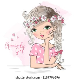 Hand drawn beautiful, cute romantic girl with flower wreath. Vector illustration.