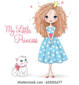 Hand drawn beautiful, cute, romantic redhead curly girl with freckles and pretty cat on the background with words My Little Princess. Vector illustration.