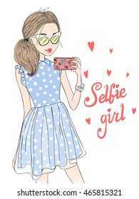 Hand drawn beautiful cute selfie girl with smart phone. Vector illustration.