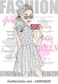 Hand drawn beautiful cute selfie girl with smart phone against the background of the cover of a glossy magazine. Vector illustration.