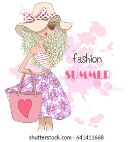 Hand drawn beautiful cute summer girl in sunglasses and hat on the background with inscription fashion summer. Vector illustration.