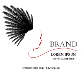 Hand drawn beautiful hair logo woman face silhouette,  American Indian head mascot, Use for beauty salon, spa, cosmetics design, tattoo art, etc, Feathers of eagle birds vector illustration.
