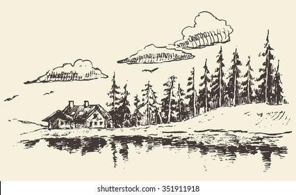 Hand drawn beautiful landscape with lake house and fir forest, vintage vector illustration