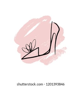 Hand drawn beautiful leather woman shoe with high heel. Fashion illustration isolated on white background, girl sketch, shopping label or shoestore logotype. Illustrator eps