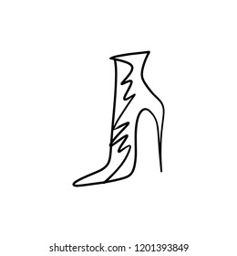 Hand drawn beautiful leather woman boot with high heel. Fashion illustration isolated on white background, girl sketch, shopping label or shoestore logotype. Handwritten style text