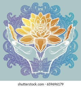 Hand drawn beautiful lotus flower in hands. Water lily motif, spiritual art for tattoo, boho - symbol of harmony, wisdom, love. Isolated vector illustration in line art style.