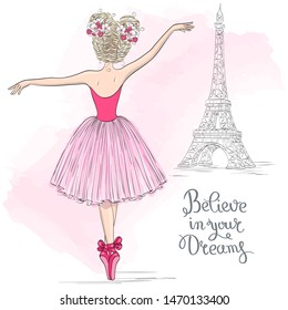 Hand drawn beautiful, lovely ballerina girl with flowers on her head and background with eiffel tower. Vector illustration.