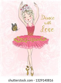 Hand drawn beautiful, lovely, cute ballerina girl with freckles and flowers on her head. Vector illustration.