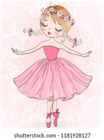 Hand drawn beautiful, lovely, little ballerina. Vector illustration.