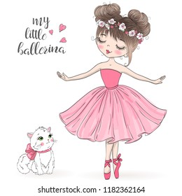 Hand drawn beautiful, lovely, little ballerina with cat. Vector illustration.