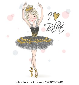 Hand drawn beautiful, lovely, little ballerina girl with freckles and crown on her head. Vector illustration.