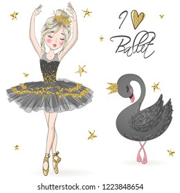 Hand drawn beautiful, lovely, little ballerina girl with black swan. Vector illustration.