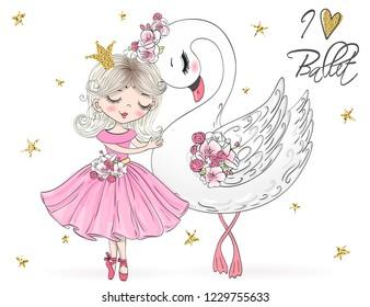 Hand drawn beautiful, lovely, little ballerina girl with swan. Vector illustration.