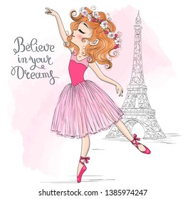 Hand drawn beautiful, lovely, little ballerina girl with flowers on her head and background with eiffel tower. Vector illustration.