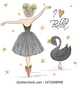 Hand drawn beautiful, lovely, little ballerina girl with black swan. Vector illustration.