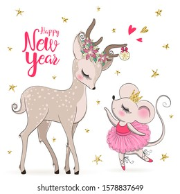 Hand drawn beautiful, lovely, little mouse ballerina girl with cute deer. Happy new year. Vector illustration.