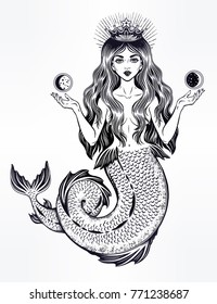 Hand drawn beautiful magic mermaid queen with long hair, crown and moon. Ocean siren in retro style. Sea, fantasy, spirituality, mythology, tattoo art, coloring books. Isolated vector illustration.