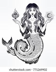 Hand drawn beautiful magic mermaid girl with long hair, heart and moon. Ocean siren in retro style. Sea, fantasy, spirituality, mythology, tattoo art, coloring books. Isolated vector illustration.