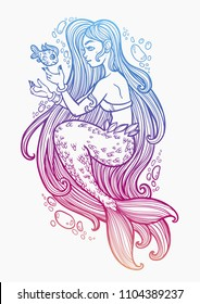Hand Drawn Beautiful Mermaid Girl With Fairytale Hair Ocean Siren In Retro Style Sea