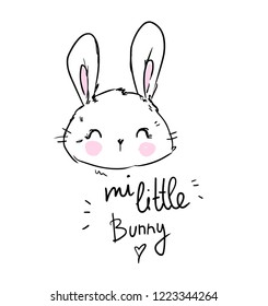 Hand Drawn beautiful rabbit and the phrase - my little bunny. kids print for t-shirt and poster