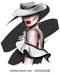 Hand drawn beautiful sketch of the face of a young woman in a hat. Stylish glamorous print. Stylish lady in a black and white dress with red lipstick on her lips.