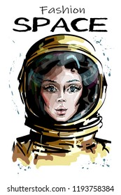 Hand drawn beautiful space woman portrait. Stylish female astronaut. Space woman character in spacesuit. Sketch.