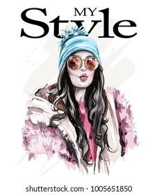 Hand drawn beautiful woman portrait. Fashion woman in sunglasses. Stylish lady. Sketch.