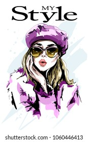 Hand drawn beautiful woman portrait. Fashion woman. Stylish girl in sunglasses. Sketch.