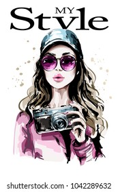 Hand drawn beautiful young woman portrait. Fashion woman in stylish cap. Cute girl with photo camera. Sketch.