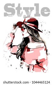 Hand drawn beautiful young woman in red hat. Fashion woman. Stylish lady portrait. Sketch. Vector illustration.