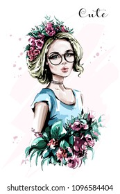 Hand drawn beautiful young woman portrait. Fashion woman in flower wreath. Pretty blond hair girl with flowers. Sketch.