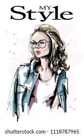 Hand drawn beautiful young woman in eyeglasses. Fashion blonde hair woman. Stylish girl. Sketch.