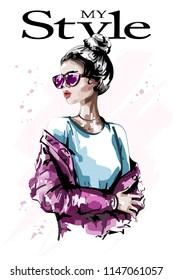 Hand drawn beautiful young woman in sunglasses. Stylish elegant girl. Fashion woman. Sketch.