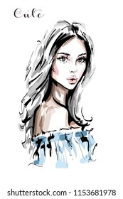 Hand drawn beautiful young woman portrait. Stylish elegant girl. Fashion woman face. Sketch.