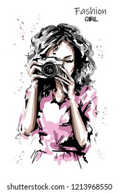 Hand drawn beautiful young woman with photo camera. Stylish elegant girl. Fashion woman portrait. Sketch.