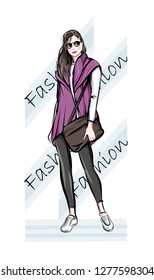 Hand drawn beautiful young woman with handbag. Fashion woman. Stylish cute girl in sunglasses. Sketch.  Fashion illustration.