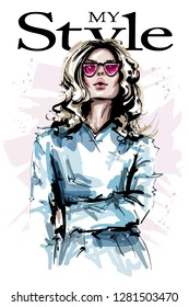 Hand drawn beautiful young woman in sunglasses. Stylish elegant girl with blonde hair. Fashion woman look. Sketch.