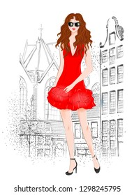 Hand drawn beautiful young woman with curly red hair on a city background. Fashion woman. Stylish cute girl in sunglasses. Sketch. Fashion illustration.  Redheaded girl in red coctail dress.