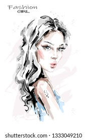 Hand drawn beautiful young woman with long hair. Stylish girl. Fashion woman look. Sketch. Vector illustration.