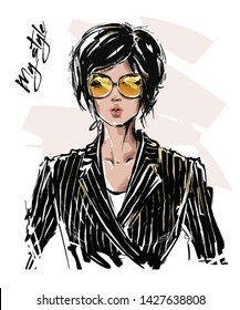 Hand drawn beautiful young woman with short haircut. Stylish girl in striped blazer. Fashion woman look. Sketch. Vector illustration.