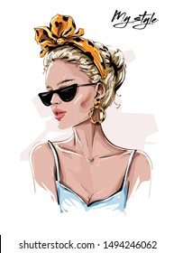 Hand drawn beautiful young woman in sunglasses. Stylish girl in headband with leopard print. Fashion woman look. Sketch. Vector illustration.