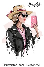 Hand drawn beautiful young woman in sunglasses. Stylish girl in hat. Fashion woman making selfie. Sketch. Vector illustration.