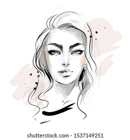 Hand drawn beautiful young woman face black and white vector fashion illustration. Stylish glamour looking girl model.