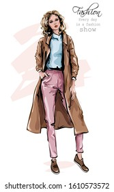 Hand drawn beautiful young woman in coat. Stylish outfit. Fashion woman look. Sketch. Vector illustration.