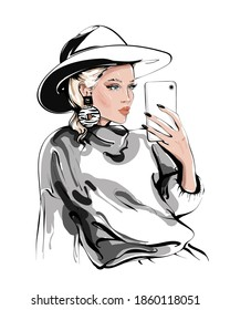 Hand drawn beautiful young woman in hat making selfie. Girl holding phone and making photo. Fashion woman.