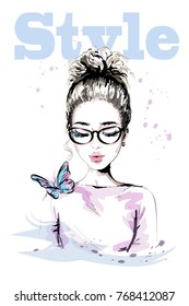 Hand drawn beautiful young woman with colorful butterfly. Fashion woman with stylish hairstyle. Cute girl in eyeglasses. Sketch.