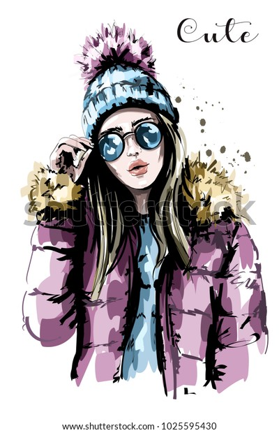 Hand drawn beautiful young woman in knit hat. Fashion woman in sunglasses. Stylish girl. Sketch.